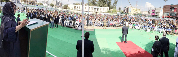 Chief Minister Mehbooba Mufti addressing PDP youth convention in Jammu on Sunday. —Excelsior/Rakesh