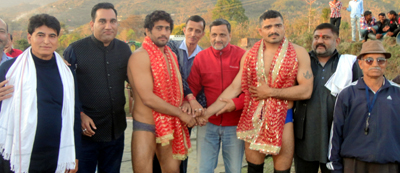 Wrestlers being felicitated during prize distribution ceremony of Bhagtha Dangal Championship.
