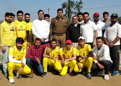 Winners of inaugural tie of Bawa Jitto Cricket Gold Cup posing for a group photograph on Sunday.