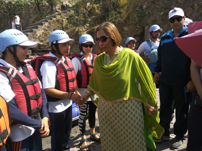 Director Tourism, Smita Sethi interacting with Rafters during National Championship in Reasi.