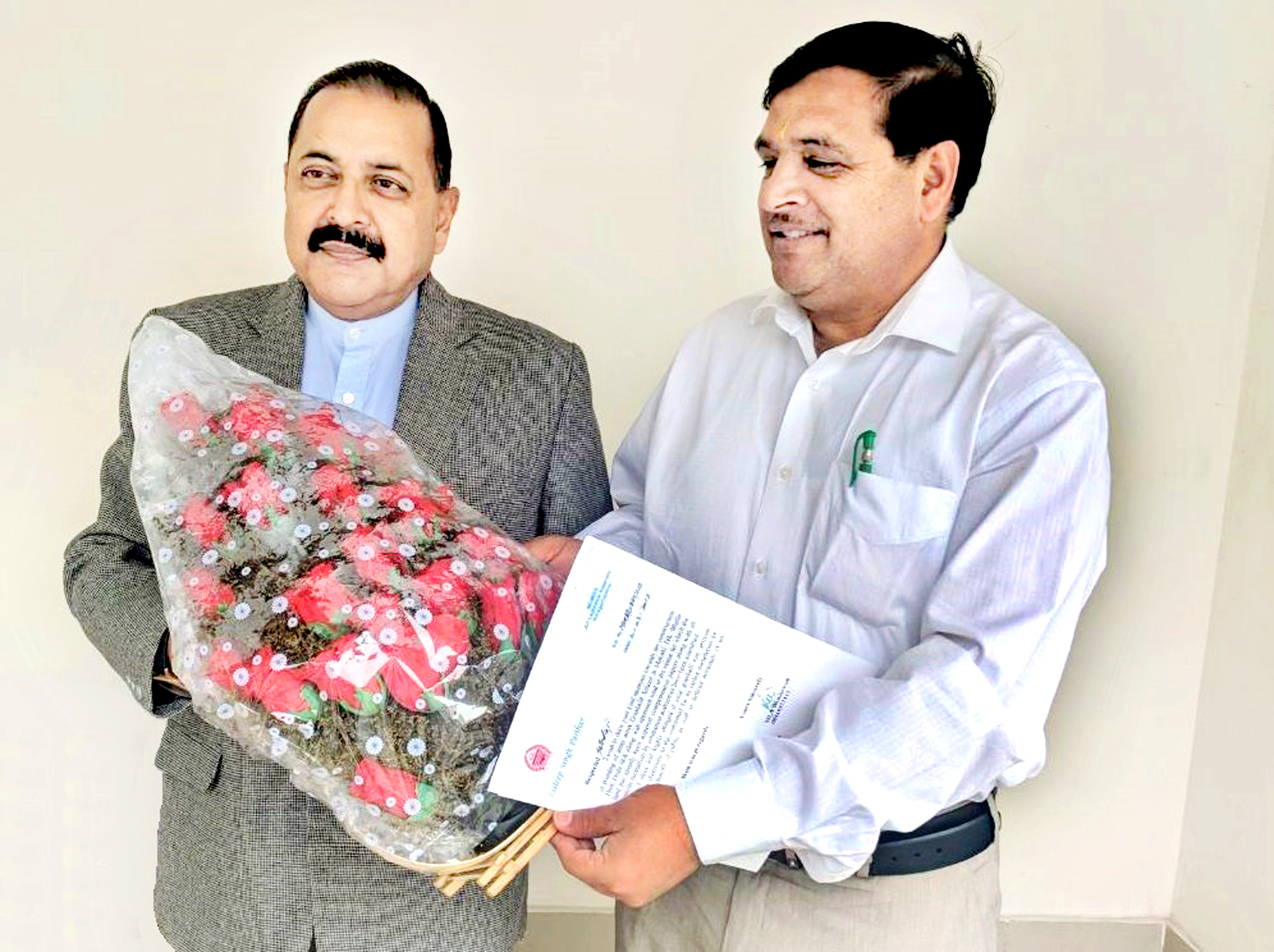 MLA Bhaderwah, Dilip Singh Parihar calling on Union Minister Dr Jitendra Singh to thank him for Centre's approval for the new National Highway linking district Doda with Himachal Pradesh.