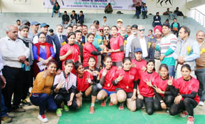 Winners posing along with chief guest Kavinder Gupta and other dignitaries during valedictory function of State Kabaddi Championship.