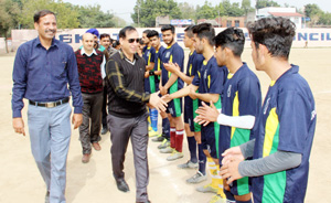 Chief guest interacting with players during Range Sports Festival at Parade ground in Jammu.