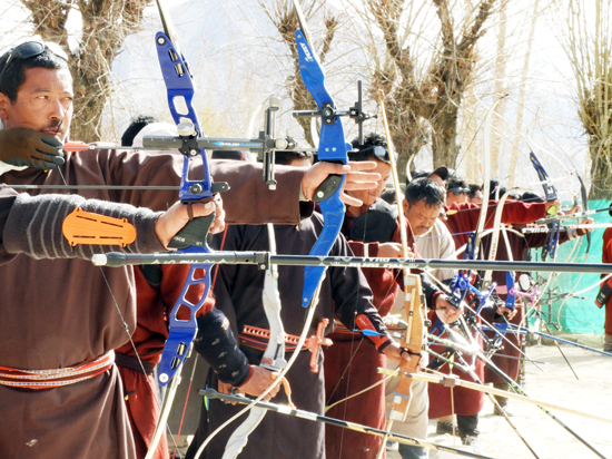 Archers in action during a tournament at Leh.