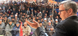 NC working president Omar Abdullah addressing workers' convention at Beerwah on Thursday.
