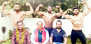 Selected Body Builders posing along with MLA Samba and other dignitaries before leaving for Nationals.