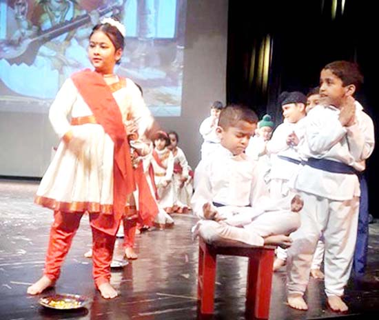 Children presenting Drama while celebrating Annual Day Function at Abhinav Theatre in Jammu on Thursday.