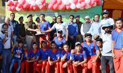 Winners posing along with the dignitaries during concluding function of Zonal Sports Festival in Jammu.