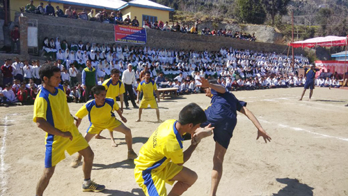 Players in action during a Kho-Kho match at Kastigarh in Doda.