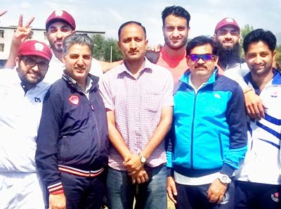 Jubilant AG's XI team posing along with ace cricketer Ashwani Gupta and other dignitaries at Gharota in Jammu.