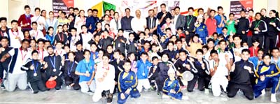 Winners of Speedball Tournament posing alongwith chief guest Vikram Randhawa and other dignitaries in Jammu on Thursday.