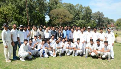Winners posing along with dignitaries during CLUJ Sports Tournament in Jammu on Saturday.