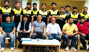 State Tennis Ball Cricket Team posing along with dignitaries before leaving for Federation Cup.