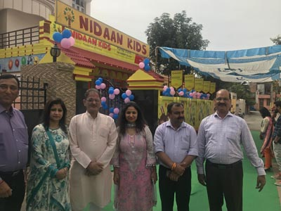 Speaker Legislative Assembly Kavinder Gupta and MLC Vikram Randhawa during inauguration of Nidaan Kids at Shastri Nagar, Jammu on Sunday.