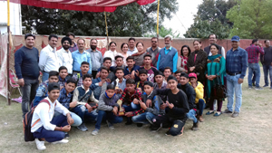 Young players posing alongwith Chanchal Kour, DYSSO Jammu and other dignitaries in Jammu on Wednesday.