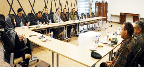 Chief Minister Mehbooba Mufti presiding over security review meeting in Srinagar on Tuesday.