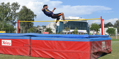 Athlete making a successful attempt during high jump at JU.