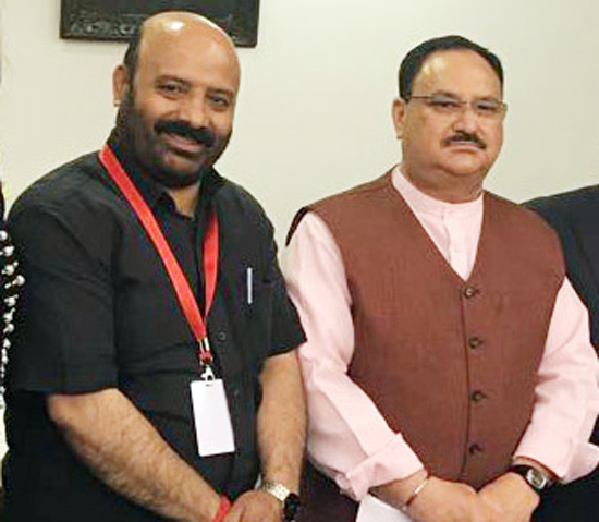 Union Health Minister JP Nadda and J&K Health Minister Bali Bhagat during a meeting at New Delhi on Thursday.