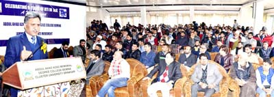 CIC, Khurshid Ahmad Ganai speaking at seminar at Srinagar on Monday.