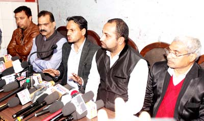 Nowshera JAC members- Bharat Bhushan, Ravikant and others addressing joint press conference at Jammu on Monday. -Excelsior/ Rakesh