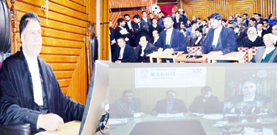 Justice Mohd Yaqoob Mir adjudicating cases through video conference on Tuesday..