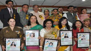 Women officers posing for photograph after being felicitated on International Women's Day at Jammu on Wednesday.