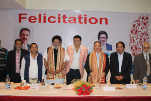 J&K Bank Chairman and others during a felicitation function at Katra.