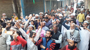 People protesting in Nowshera on Friday. — Excelsior/Bhat