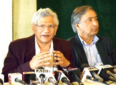 General Secretary of CPI (M) Sitaram Yechury addressing a press conference in Srinagar. -Excelsior/Shakeel