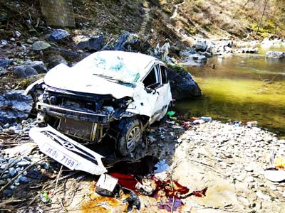 Ill-fated vehicle after accident near Seri village in tehsil Bhaderwah. -Excelsior/Tilak Raj