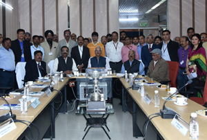 Union Power Secretary, CMD NHPC and others witnessing Power Point Presentation at Salal Power Station on Sunday.