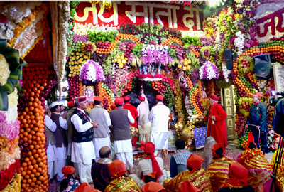 A view of the Holy Cave of Shri Mata Vaishno Devi Ji on the commencement of Navratras.