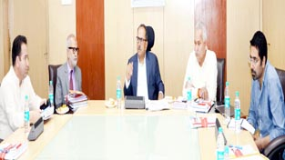 DyCM Dr Nirmal Singh chairing a meeting of Group of Ministers at Jammu on Tuesday.