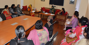 Chief Minister Mehbooba Mufti interacting with a deputation at Jammu on Thursday.