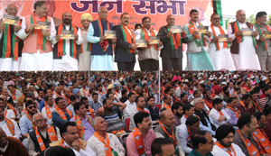 BJP leaders at a party rally in Jammu on Sunday. —Excelsior/Rakesh