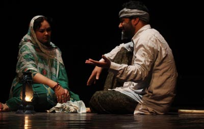 A scene from the play 'Dangar' staged on Tuesday. —Excelsior/Rakesh