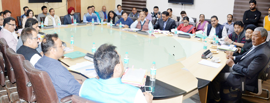 Minister for Cooperatives, Chering Dorjay chairing a meeting at Jammu on Thursday.