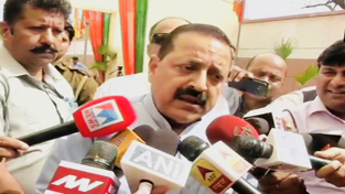 Union Minister Dr Jitendra Singh speaking to media persons after the declaration of Northeast election results at BJP Headquarters, 6 Deen Dayal Upadhyay Marg, New Delhi onSaturday.