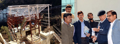 Governor NN Vohra inspecting work on passenger ropeway at Bhawan.
