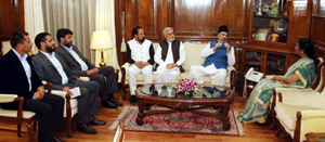 Member Parliament Muzaffar Hussain Beigh during a meeting with Defence Minister Nirmala Sitharaman on Friday.