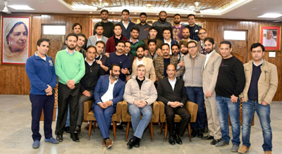 NC working president presides over one-day YNC provincial body meet in Srinagar on Saturday. —Excelsior/Shakeel