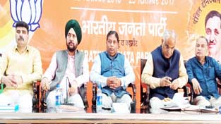 BJP leaders during office bearers meeting at Jammu on Tuesday.