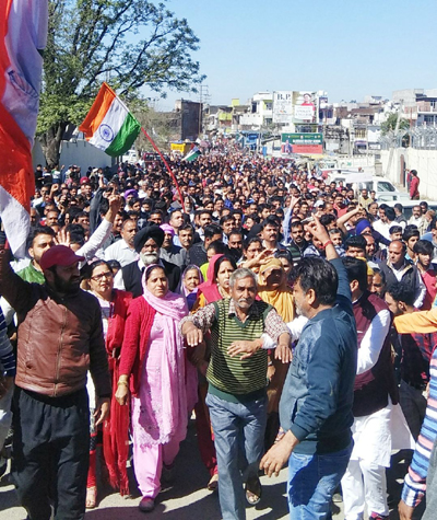 Sunderbani people taking out grand protest rally on Tuesday.