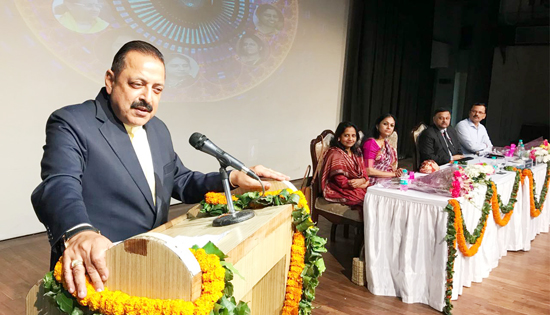 Union Minister Dr Jitendra Singh speaking at the International Women's Day programme organized by DoPT, at New Delhi on Thursday.