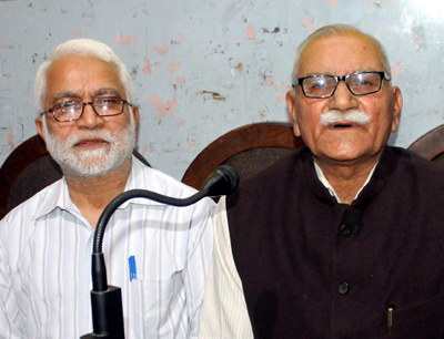 RSS leaders addressing a press conference at Jammu on Saturday. —Excelsior/Rakesh