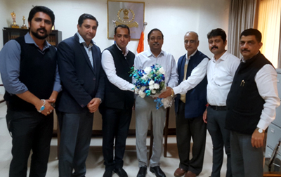 The office bearers of J&K Branch of NIRC of the ICAI presenting bouquet to Principal Commissioner of Income Tax, J&K RN Sahay during a meeting at Jammu.