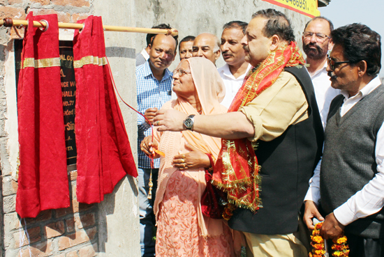 NC Provincial President Devender Singh Rana inaugurating community hall on Thursday.