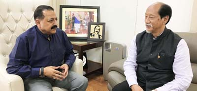 New Chief Minister of Nagaland, Neiphiu Rio, currently on a visit to the union capital, calling on Union Minister Dr Jitendra Singh, at New Delhi on Saturday.