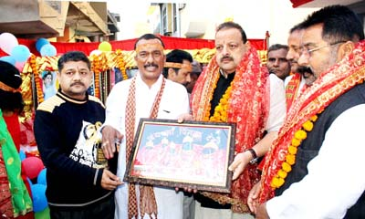 NC Provincial President Devender Singh Rana during flagging off yatra to Pingla Mata.