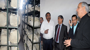 Minister for Revenue Abdul Rehman Veeri during his visit to Central Record Room at Jammu on Wednesday.